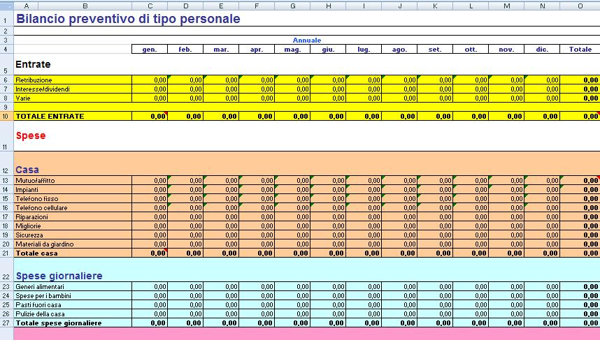Schema bilancio mensile