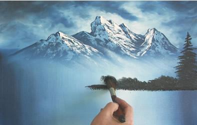 Passione Arte Un Paesaggio Utilizzando La Tecnica Di Bob Ross